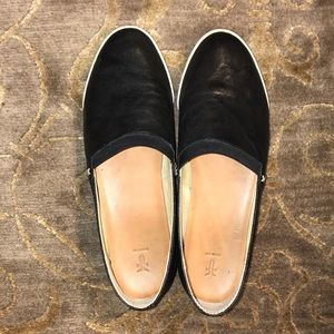 Black leather Frye slip-ons, size 8.5